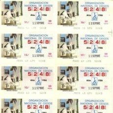 Cupones ONCE: HOJA 20 CUPONES ONCE 1986. Lote 32649540
