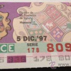 Cupones ONCE: CUPÓN DE LA ONCE. 5 DE DICIEMBRE DE 1997. DEDICADO A HUESCA.. Lote 32734087