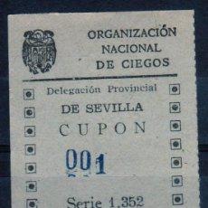 Cupones ONCE: CUPON ONCE, DELEGACION SEVILLA, Nº 001, 8 DE FEBRERO DE 1943 (D). Lote 32857578