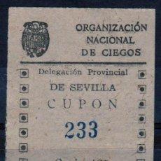 Cupones ONCE: CUPON ONCE, DELEGACION SEVILLA, Nº 233, 31 DE MARZO DE 1943 (D). Lote 32857590