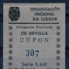 Cupones ONCE: CUPON ONCE, DELEGACION SEVILLA, Nº 307, 3 DE MAYO DE 1943 (D). Lote 32857650