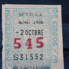 Cupones ONCE: CUPON ONCE, DELEGACION SEVILLA, Nº 545, 2 OCTUBRE DE 1956 (P). Lote 32869703