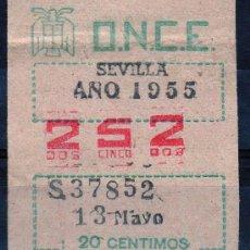 Cupones ONCE: CUPON ONCE, DELEGACION SEVILLA, Nº 252, 13 MAYO DE 1955 (P). Lote 32869719