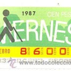 Cupones ONCE: 8-870206. CUPON ONCE DE 6-2-87. LOGO GERANIO. Lote 33241156