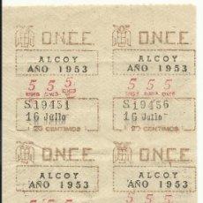 Cupones ONCE: ANTIGUAS TIRAS ,SERIES DE LA ONCE ALCOY (ALICANTE)-AÑO 1953-16 DE JULIO. Nº 555 SERIE 19451-19460. Lote 34123953