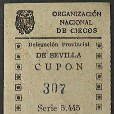 Cupones ONCE: CUPON ONCE, DELEGACION SEVILLA, Nº 307, 3 DE MAYO DE 1943 (W). Lote 34657082