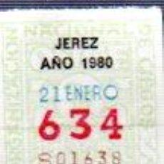 Cupones ONCE: CUPÓN ONCE, DELEGACIÓN DE JEREZ, 1980, 21 ENERO N º 634. Lote 34909087