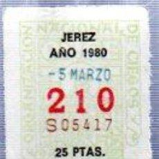Cupones ONCE: LOTERÍA NACIONAL DE CIEGOS, CUPÓN ONCE, DELEGACIÓN DE JEREZ, 1980, 5 MARZO, Nº 210. Lote 34917907