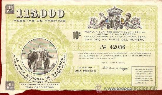 LA JUNTA NACIONAL DE SOCORROS AL SOLDADO MUTILADO E INVALIDO DE LA CAMPAÑA DE ÁFRICA (Coleccionismo - Lotería - Cupones ONCE)