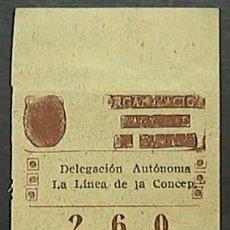 Cupones ONCE: CUPON ONCE, DELEGACION AUTONOMA LINEA DE LA CONCEPCION, Nº 260, 7 DE MARZO DE 1946 (X). Lote 35872013