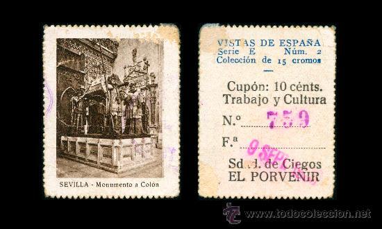 CRE1 CUPON SDAD. DE CIEGOS EL PORVENIR AÑO 1935 SEVILLA (Coleccionismo - Lotería - Cupones ONCE)