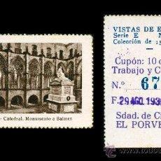 Cupones ONCE: CRE1 CUPON SDAD. DE CIEGOS EL PORVENIR AÑO 1935 VICH. Lote 36517799