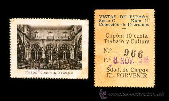 CRE1 CUPON SDAD. DE CIEGOS EL PORVENIR AÑO 1935 OVIEDO (Coleccionismo - Lotería - Cupones ONCE)
