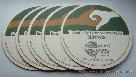 5 POSAVASOS ONCE IMAGINA TODO LO QUE PODEMOS HACER JUNTOS POSAVASO 2013 (Coleccionismo - Lotería - Cupones ONCE)