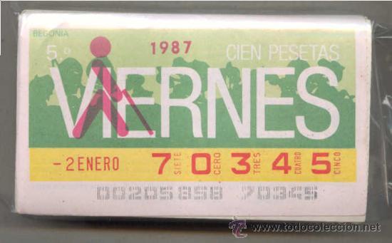 CCC1 COLECCIÓN COMPLETA EN CUPONES DE LA ONCE DEL AÑO 1987 (Coleccionismo - Lotería - Cupones ONCE)