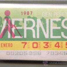 Cupones ONCE: CCC1 COLECCIÓN COMPLETA EN CUPONES DE LA ONCE DEL AÑO 1987. Lote 36959218