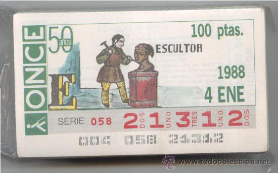 CCC1 COLECCIÓN COMPLETA EN CUPONES DE LA ONCE DEL AÑO 1988 (Coleccionismo - Lotería - Cupones ONCE)