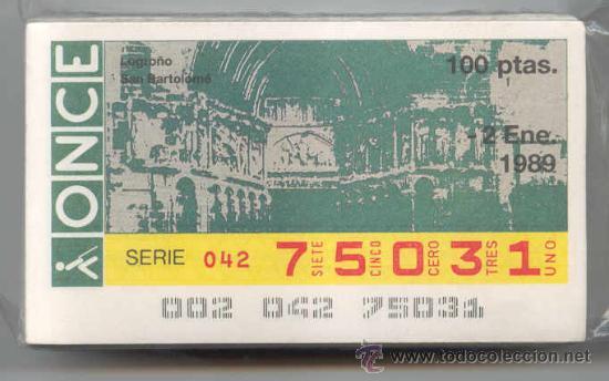 CCC1 COLECCIÓN COMPLETA EN CUPONES DE LA ONCE DEL AÑO 1989 (Coleccionismo - Lotería - Cupones ONCE)