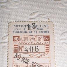 Cupones ONCE: CUPÓN DE LA SOCIEDAD DE CIEGOS LA HISPALENSE. 1935. IMPECABLE ESTADO. ARTISTAS - CAROLE LOMBARD.. Lote 37136466