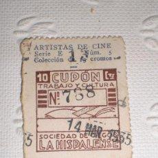 Cupones ONCE: CUPÓN DE LA SOCIEDAD DE CIEGOS LA HISPALENSE. 1935. IMPECABLE ESTADO. ARTISTAS - BILLIE DOVE.. Lote 37136534