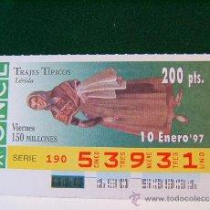 Cupones ONCE: LERIDA - TRAJES TIPICOS - 10 ENERO 1997 - ONCE - VIERNES - 53931.. Lote 37319959
