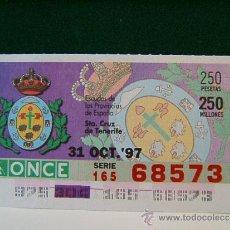 Cupones ONCE: STA. CRUZ DE TENERIFE - ESCUDOS DE LAS PROVINCIAS DE ESPAÑA -31 OCTUBRE 1997- ONCE - VIERNES - 68573. Lote 96085923