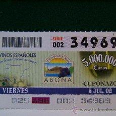 Cupones ONCE: ABONA - TENERIFE - DENOMINACION DE ORIGEN - VINOS ESPAÑOLES - 5 JULIO 2002 - ONCE - VIERNES - 34969 . Lote 96085827