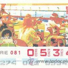 Cupones ONCE: ONCE, JUEGOS OLIMPICOS DE BARCELONA, JUEGOS PARALIMPICOS, TIRO OLIMPICO, CUPON DEL 30-9-1992. Lote 37984000