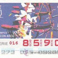 Cupones ONCE: ONCE, JUEGOS OLIMPICOS DE BARCELONA, JUEGOS PARALIMPICOS, TIRO CON ARCO, CUPON DEL 29-9-1992. Lote 37984011