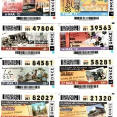 Cupones ONCE: CUPONES DE LA ONCE DEL MES DE MARZO DE 2012 - DIAS 5-6-7-14-21-27-28-29. Lote 38908497