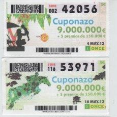 Cupones ONCE: CUPONES DE LA ONCE - TODOS LOS VIERNES DEL MES DE ABRIL DE 2012 - DIAS 4-11-18-25. Lote 38908889