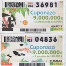 Cupones ONCE: CUPONES DE LA ONCE - TODOS LOS VIERNES DEL MES DE MAYO DE 2012 - DIAS: 4-11-18-25. Lote 38920054