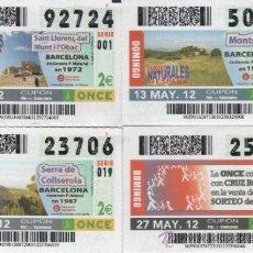 Cupones ONCE: CUPONES DE LA ONCE - TODOS LOS DOMINGOS DEL MES DE MAYO DE 2012 - DIAS: 6-13-20-27. Lote 38920142