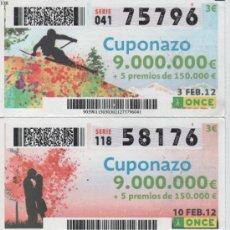 Cupones ONCE: CUPONES DE LA ONCE - TODOS LOS VIERNES DEL MES DE FEBRERO DE 2012 - DIAS: 3-10-17-24. Lote 38932909