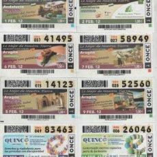 Cupones ONCE: CUPONES DE LA ONCE DEL MES DE FEBRERO DE 2012 - DIAS: 1-2-6-7-8-9-15-16. Lote 38932927