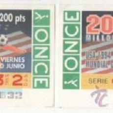 Cupones ONCE: 2 CUPONES ONCE ANIVERSARIOS - MUNDIAL DE FÚTBOL USA 1994. Lote 38977593