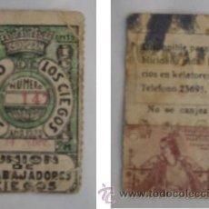 Cupones ONCE: CUPÓN UNIÓN DE TRABAJADORES CIEGOS. AÑO 1933. Lote 39019556