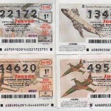 Cupones ONCE: LOTERÍA DEL JUEVES - AÑO 1999 - SORTEOS 70, 80, 84 Y 88. Lote 39426079