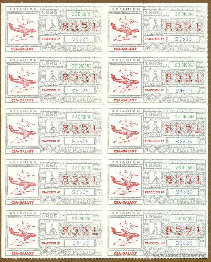 ONCE - AVIACION 1985 (Coleccionismo - Lotería - Cupones ONCE)