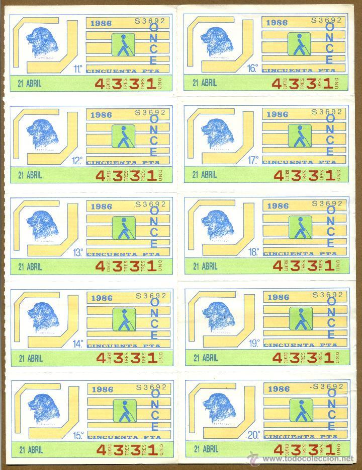 ONCE - PERROS 1986 (Coleccionismo - Lotería - Cupones ONCE)
