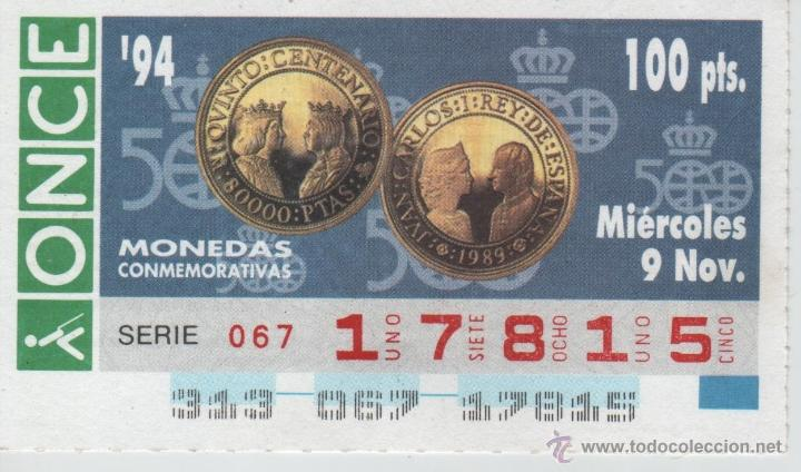 93 CUPONES DE LA ONCE - COLECCIÓN COMPLETA DE MONEDAS CONMEMORATIVAS - AÑOS 1994 Y 1995 (Coleccionismo - Lotería - Cupones ONCE)
