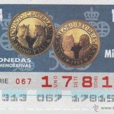 Cupones ONCE: 93 CUPONES DE LA ONCE - COLECCIÓN COMPLETA DE MONEDAS CONMEMORATIVAS - AÑOS 1994 Y 1995. Lote 39797519