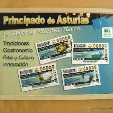 Cupones ONCE: CUADRO CON LÁMINA CUPONES ONCE DEDICADOS AL PRINCIPADO DE ASTURIAS. Lote 40185377