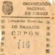 Cupones ONCE: CUPON DE LA ONCE DE 1942-BADAJOZ. Lote 40414941