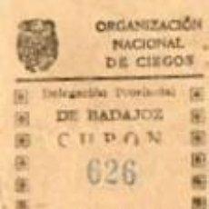 Cupones ONCE: CUPON DE LA ONCE DE 1942-BADAJOZ. Lote 40414955