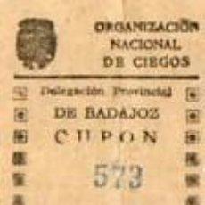 Cupones ONCE: CUPON DE LA ONCE DE 1942-BADAJOZ. Lote 40414972