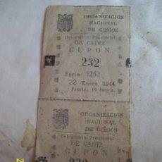 Cupones ONCE: PAREJA SIN CORTAR DE 2 CUPONES DE LA ONCE DE CADIZ DEL AÑO 1944. SE VENDE TAL CUAL. Lote 42758533