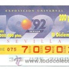 Cupones ONCE: 8-111292. CUPÓN ONCE DE 11-12-92. SEVILLA 92. Lote 42988139