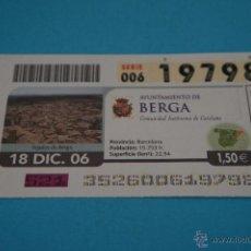 Cupones ONCE: CUPÓN DE LA ONCE:CIUDAD,BERGA,(BARCELONA). Lote 43420798
