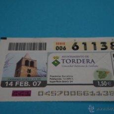 Cupones ONCE: CUPÓN DE LA ONCE:CIUDAD,TORDERA,(BARCELONA). Lote 43420810